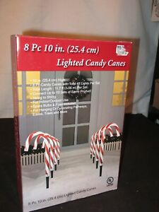 """Candy Cane Landscape 10"""" Lights String Outdoor Christmas Decorations 8 Pack"""