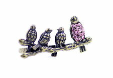 Vintage retro style four bronze birds double finger ring with pink crystal