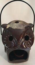 Vintage OWL CANDLE Holder Drip Glaze LANTERN Hanging Votive Inarco Japan