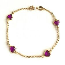 "14K GOLD FILLED PURPLE HEART  BRACELET 7.5"" FOR LOVE / PULSERA DE CORAZON 7.5"""