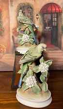 Vintage Andrea Sadek Parakeet w/ Flowers Hand Painted Lot Of Two.Beautiful!