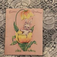 Vintage Greeting Card Easter Yellow Tulip Bunny Rabbit