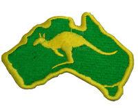 Australian Souvenir Iron Sew Stitch Embroider Australia Kangaroo Map Green Patch