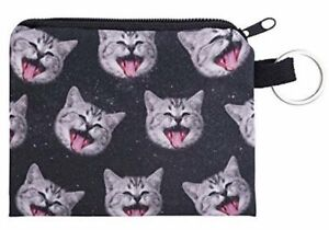 Space Laughing Cat Purse Small Ladies Women's Coin Card Holder Purses Wallet ID