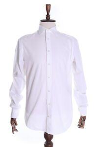 Men's SUITSUPPLY White 100% Cotton SF Formal Dress LS Shirt Size 40 , 15 3/4 L