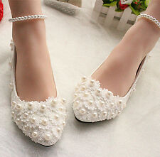 Ivory white lace Wedding shoes pearls ankle trap Bridal flats heels size 5-12