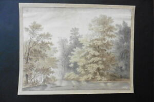 DUTCH SCHOOL 1833 - FISHERMAN IN WOODED LANDSCAPE SIGN. RÖMER - INK DRAWING