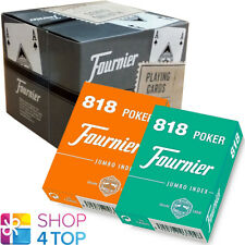 12 DECKS FOURNIER 818 POKER PLASTIC COATED PLAYING CARDS JUMBO 6 GREEN 6 ORANGE