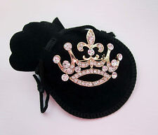 Glitter Critter Princess Crown Gold & Diamanté Rhinestone Pin Brooch