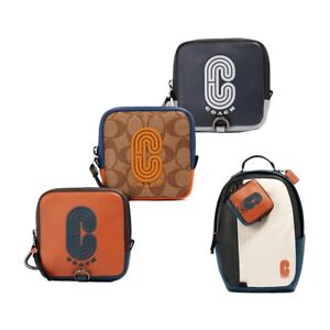 NWT COACH Square Hybrid Pouch Key Chain Backpack Canvas Logo Orange Navy 91257