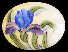 VINTAGE FINE PORCELAIN TILE HAND PAINTED ART EP PALIN BLUE FLOWER ORCHID FLORAL