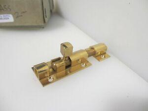 "Vintage Brass Door Lock Sliding Bolt Old Retro 1970's (New old stock) 2.75"""