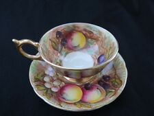 Aynsley England Tea Cup And Saucer Orchard Fruit Gold #1037 Signed D. Jones