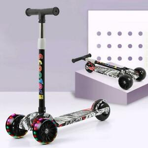 3 Wheel Adjustable LED Kick Scooter Deluxe Height T-bar Glider For Toddler Kids