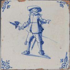 Nice Dutch Delft Blue tile, Pikeman, mid 17th. century.