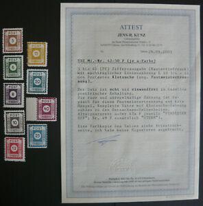 SBZ, Mi-Nr. 42-50 F je a-Farbe, Klotzsche, postfrisch, MNH, Fotoattest, tadellos
