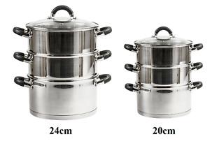 STAINLESS STEEL STEAMER COOKER POT SET PAN COOK FOOD + GLASS LIDS STEAM NEW