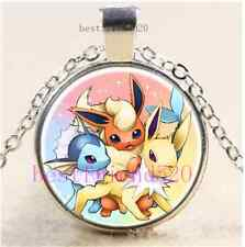 Pokemon Eeveelutions Cabochon Glass Tibet Silver Chain Pendant Necklace