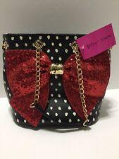 Betsey Johnson Bow-Lesque Dots Handbag Purse Zippered Insert Bag BJ62500H NWT