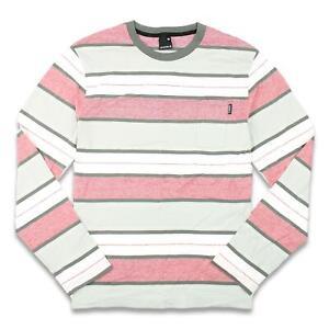 Nixon Mens Stripe L/S Shirt Grey L New