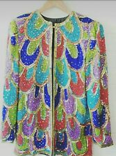 vintage sequin jacket multicoloured 14 16 immaculate.