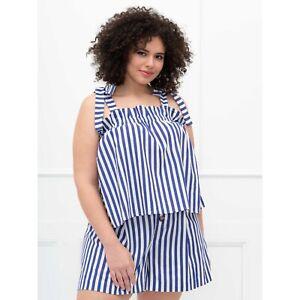 Eloquii Elements 28 Striped Matching Set Shorts & Tank Linen Blend NWOT