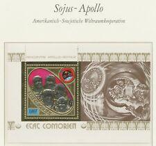 COMOROS 1975, APOLLO-SOYUZ GOLD-STAMP 1500 F superb U/M MS - only 5,000 issued