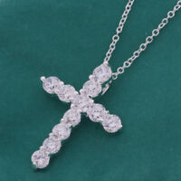 Gorgeous Natural White Fire Topaz Gems Silver Cross Necklace Pendant With Chain