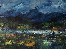 More details for original painting  acrylic on canvas 40x30cm 'welsh mountain lake'