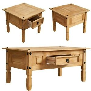 Solid Pine Wood Coffee Table End Table Side Table Drawer Optional Mexican Style