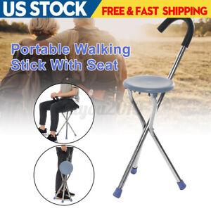 Folding Portable Walking Stick Silver Seat Tripod Cane Hiking Chair Tripod Stool