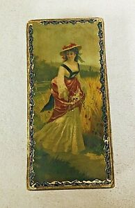 Victorian Cardboard Gentleman's  Handkerchiefs Box with Lady Picking Flowers