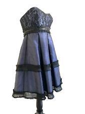 BCBG Maxazria Dress Lace Ruffle Empire Waist Formal Size 8 Tube Pleated Blue