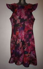ABS fuchsia floral dress size L flutter sleeves & asymmetric stitching NWT