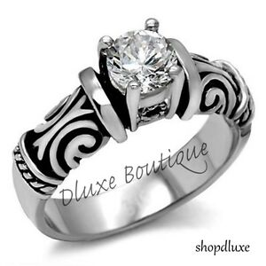 Antique Style Stainless Steel CZ Wedding Engagement Ring Band Women's Size 5-10