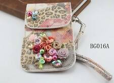 Leisure Chunky Flower Crystal PU Leather Telephone Bag Cases Of Phone For Girls