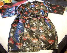 Essendon Bombers AFL Mens Black Satin Kimono Dressing Gown Robe One Size New