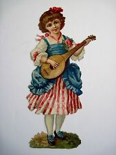Precious Vintage Die-Cut of Girl Playing Mandolin Wearing a Cross *