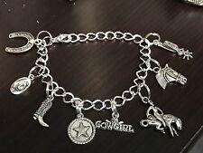 "Western Cowgirl Mix Large Charm Tibetan Silver 8"" Clasp Bracelet BIN"