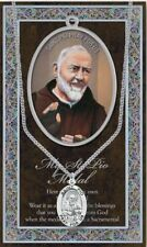 St Padre PIO Saint Medal Pewter Necklace Pendant Stainless Steel Healing