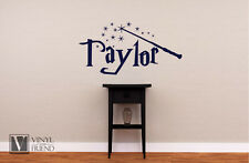 Personalized Name in Harry Potter font with wand bedroom wall vinyl decal 2180