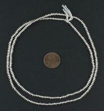 Silver Patterned Heishi Beads 3mm White Metal 26 Inch Strand