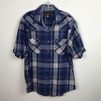 Vintage Mens Plains Western Wear Shirt Size L Blue Pearl Snap Short Sleeve Plaid