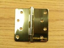 "Polished Solid Bright Brass 4""x4"" Door Hinges 1/4"" rad"