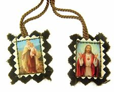 Sacred Heart of Jesus with Our Lady of Mt Carmel Brown Cloth Scapular, 30 Inch