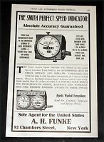1907 OLD MAGAZINE PRINT AD, SMITH PERFECT SPEED INDICATORS, FOR ALL MOTOR CARS!