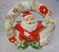 Vtg RELPO Santa w Wreath Christmas Planter Japan Fine Porcelain Napco stile RARE