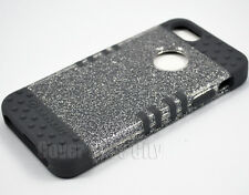 Hybrid Impact Cover for Apple iPhone 5 Clear Glitter w/ Gray Soft Silicone Case