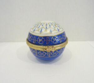 Vintage Blue & Gold Tone Round Porcelain Brass Hinged Box With Quartz Clock