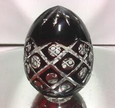 Bohemian Czech Ruby Red Deep Cut to Clear Crystal Egg Hollow Art Glass Egg